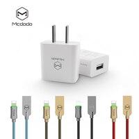 MCDODO Мини Путешествия Зарядное устройство 2.1A + цинковый сплав кабель Lightning/USB для iPhone 7 Plus/6 s авто отключение быстрого Зарядное устройство IOS 9 10...