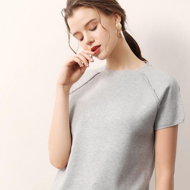 Женский вязаный свитер с короткими рукавами летние женские короткие весенние модные мягкие Топы|Водолазки|   | АлиЭкспресс