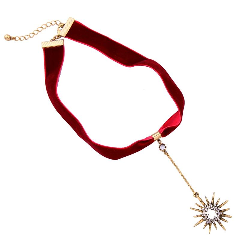 Crystal Star ripats must punane velvet choker kaelakee pop naiste - Mood ehteid - Foto 5