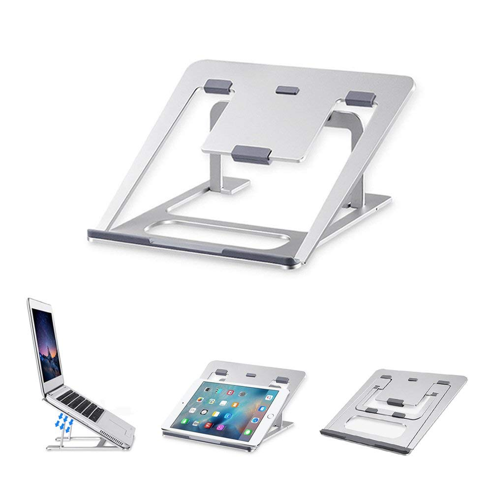 Aluminum Laptop Stand 6 Heights Adjustable Cooling Pad Desktop Tablets Holder Book Bracket Multifunction Use For MacBook/iPad