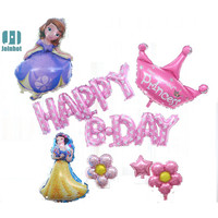 Princess balloons HAPPY BIRTHDAY Foil Balloons pink Children Birthday Letter Ballons party Decoration Supplies Wedding party