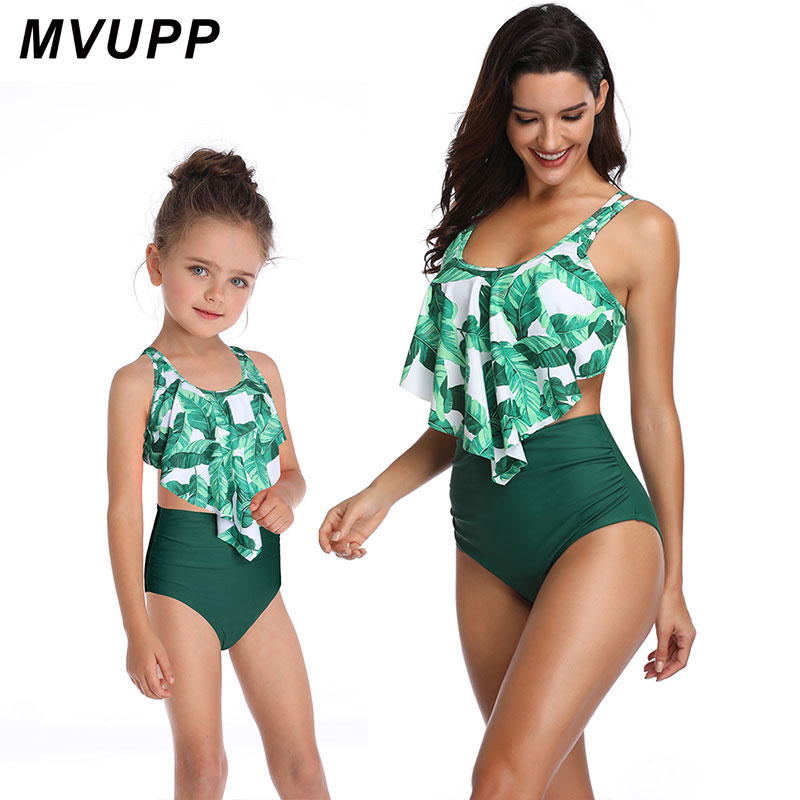 Mommy and Me Matching Swimsuit Bathing Beach Swimming Wear Mother and Daughter Monokini Mon and Kids Swimwear