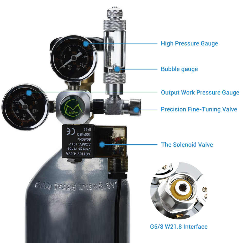 Regulator CO2 akwarium NICREW z zaworem zwrotnym licznik babelków magnetyczny zawór elektromagnetyczny akwarium CO2 zawór redukcyjny ciśnienia
