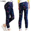 V-TREE Girls Pants Spring Child Oil Paint Ink Jeans Sports Trousers For Children Children's Clothing Girls
