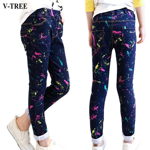 V-tree niñas pantalones primavera niño pintura al óleo de tinta jeans pantalones deportivos para niños ropa para niños niñas