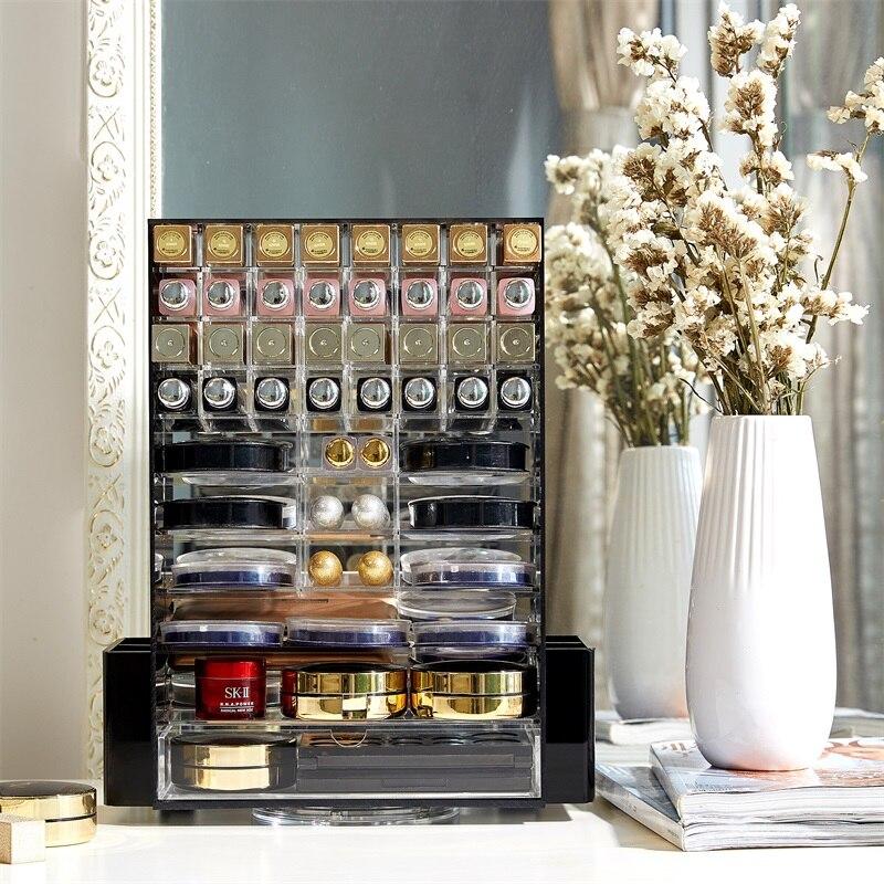 Organizador de maquillaje multifunción acrílico 360 cajas de almacenamiento de cosméticos giratorias con Cajón Negro claro-in Organizadores de maquillaje from Hogar y Mascotas    2
