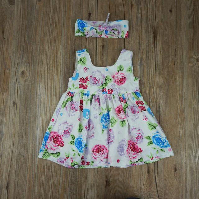 Toddler Kids Baby Girl Floral tank dress match headband Summer button sleeveless sundress infant girl Clothes