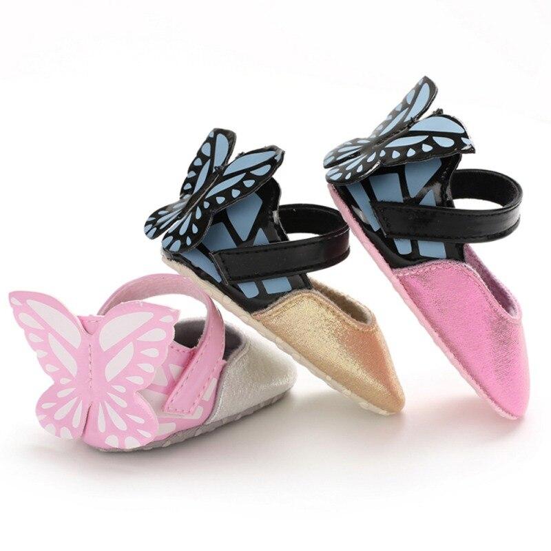 תינוק בנות נעלי פרפר קריקטורה חמוד יילוד תינוק נסיכת נעלי PU רך תחתון ראשון הליכונים בנות נעלי