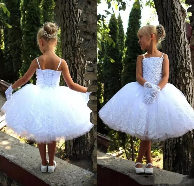 Lovely Cupcake White Corest Back Flower Girl Dresses Knee Length Lace Appliques Beaded First Communion Dresses For Wedding Par