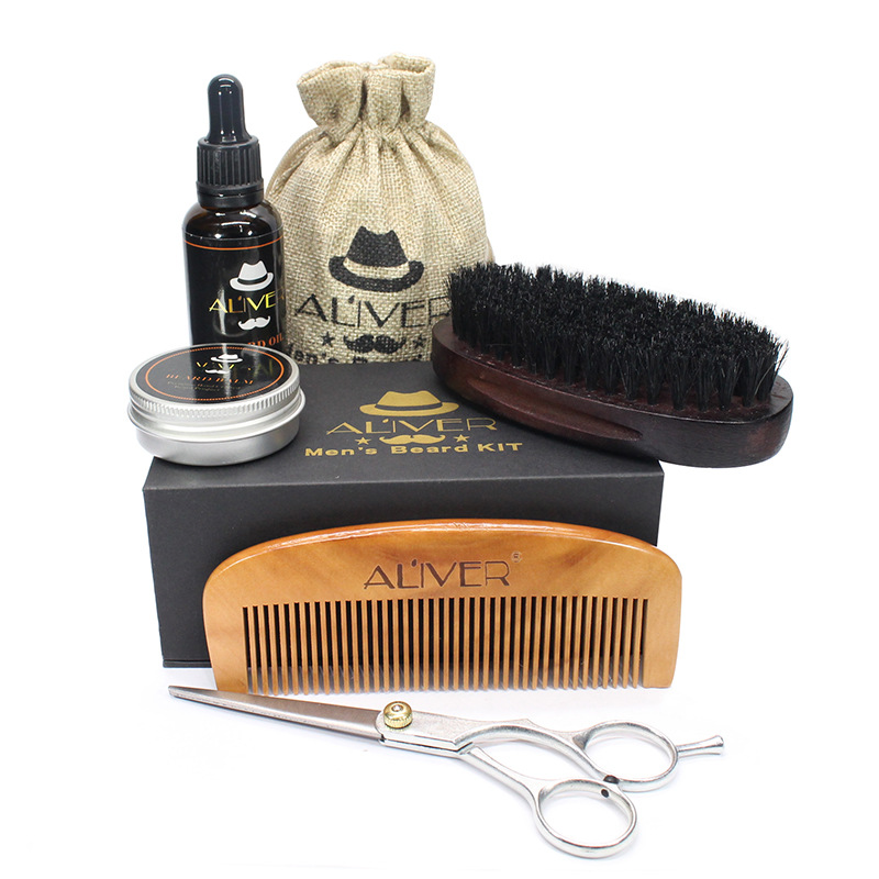 brush And Comb Kit For Men-beard Care Gift Set With Organic Ingredients Mustache Moisturizing Wax Set 5 Pcs balm Beard Oil