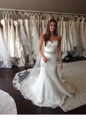 b8e7485587ee 2015 White/Ivory Lace Sweetheart Neckline Rhinestones Beaded Sash Mermaid  Wedding Dresses Chapel Train Vestido De Noiva
