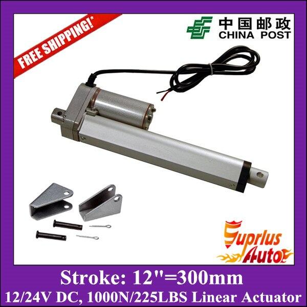 Бесплатная доставка 12 В, 300 мм/12 дюймов, 1000n/100kgs/225lbs нагрузки линейный привод с монтажные кронштейны отправить почтой Китая
