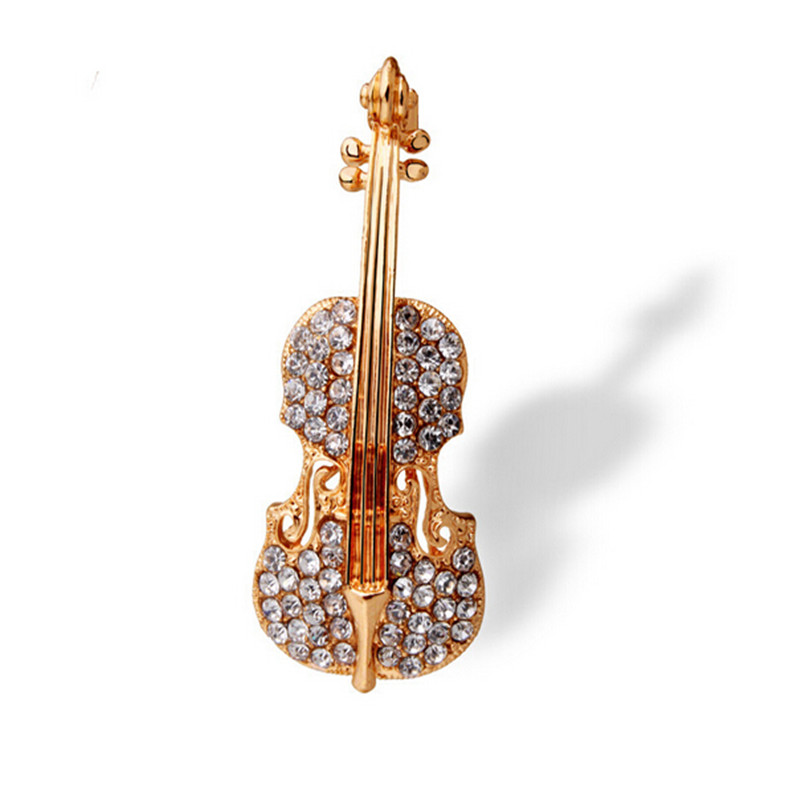Brand New Personality Violin Woman Brooch Pin Elegant Suits Man Shirt's Brooches Pins Full Rhinestone Fashion Jewelry