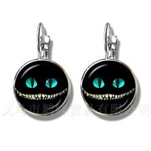 Alice In Wonderland Earrings Cheshire Cat 16mm Glass Round Dome DIY Jewelry Silver Plated Stud Earrings For Women Gift(China)