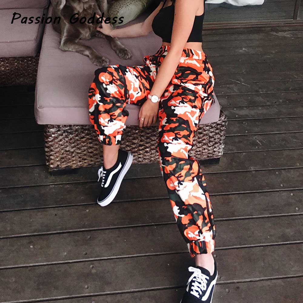 casual women orange camo camouflage pants trackpants side striped loose trousers pantalon hiphop. Black Bedroom Furniture Sets. Home Design Ideas
