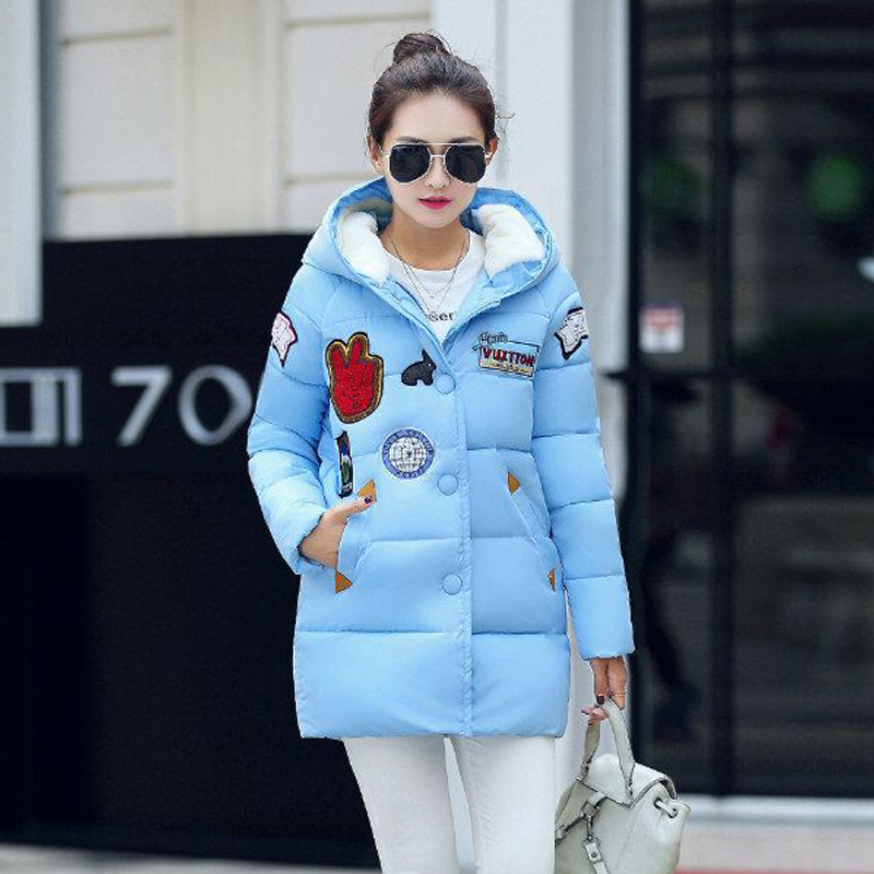 Winter new Women Down Cotton Jacket Long section thick warm Parka Hooded loose cotton padded Warm Coat Outerwear Plus Size winter women down cotton coat long section thick warm cotton jacket solid color wild pockets zipper casual jacket loose parka