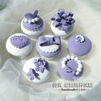 Wedding Purple Resin Flatback Flat Back Cabochon DIY Resin Craft Decoration Miniature Artificial Fake Cupcake