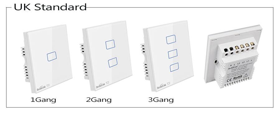 Broadlink TC2 UK EU US Switch 1Gang 2Gang 3Gang Touch Switch Smart Home Automation Wireless Wifi Control Light Wall Switch RF433 2