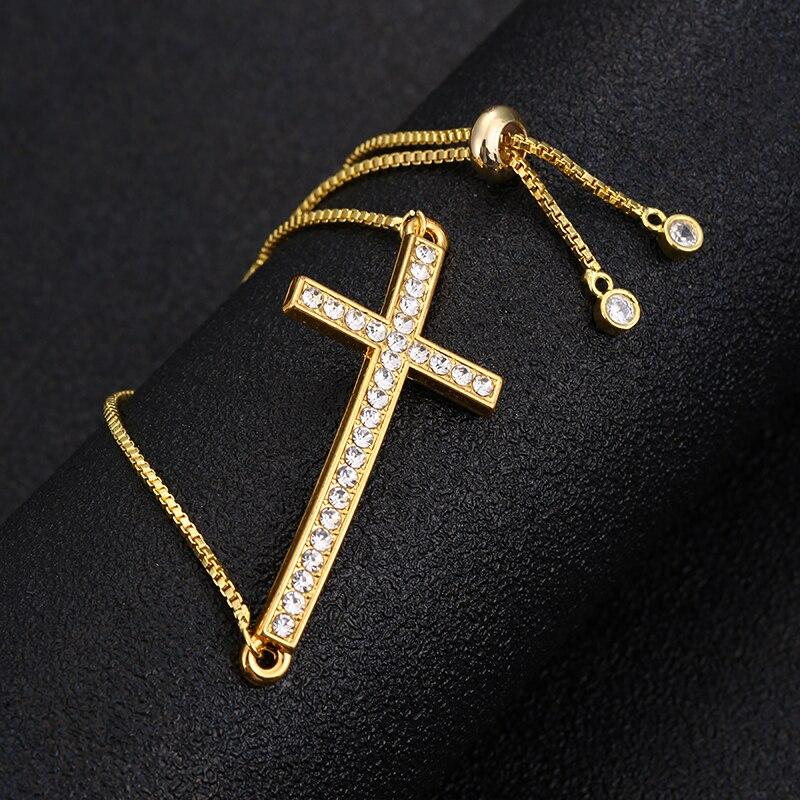 Pulsera cruzada lateral para hombre y mujer, brazalete ajustable de oro, regalo, venta al por mayor Brazaletes de cadena y enlaces  - AliExpress