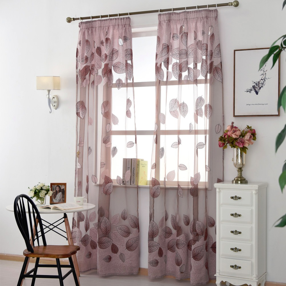 Free Shipping Short Room Curtains For Transparent Fabrics Leave Living  Window Sheer Treatments Tulle Kitchen Curtain
