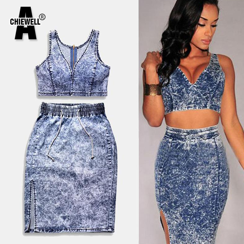 ACHIEWELL Sexy Women Denim Crops Tops And Skirt 2 Piece Set Deep V Neck High Waist Elastic Bodycon Women Hollow-Out Set