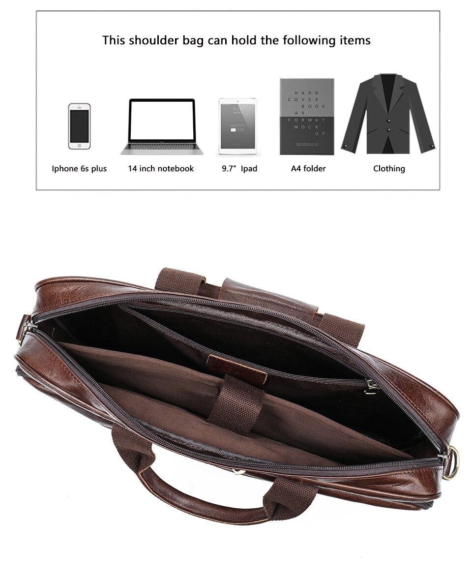 couro genuíno 15 'laptop portátil bolsa de