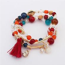 Bohemian Multilayer Candy Color Beads Tassels bracelets & bangles For Women Elastic Stretch joyeria Pulseiras Feminina