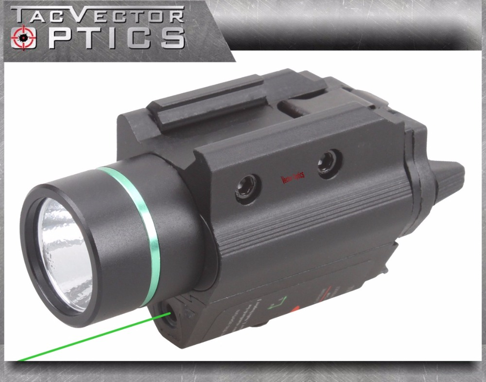где купить Vector Optics Tactical Pistol Handgun LED Flashlight Green Laser Combo Sight Metal 200 Lumens Weapon Light Fit GLOCK 17 19 дешево