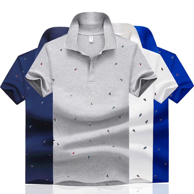 Cotton Casual Men's   Polo   Shirt Fade-Resistant Short-Sleeved Men's Sailboat Solid Color Plain Knit Breathable Tops Tees;YA230
