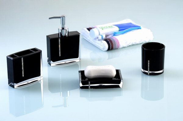 fashion diamond acrylic bathroom accessories set soap dish tumbler