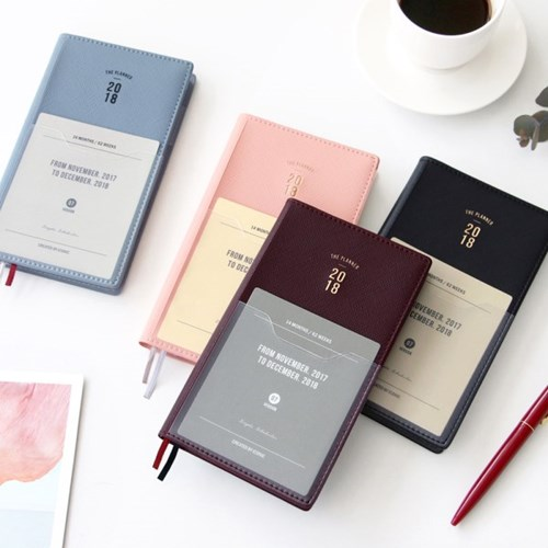 Business Fashion 2018 Pocket Journal Weekly Planner 176P Korean Fashion Stationery floral flamingo theme creative 2018 weekly planner band journal notebook 13 9 19 4cm korean fashion scheduler 192p free shipping