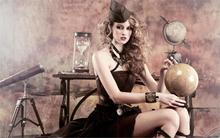 top fashion models sexy beauty babe sensual woman steampunk 4-Size Home Decoration Canvas Poster Print