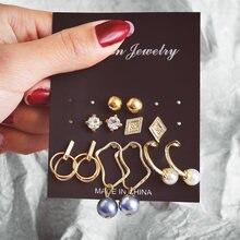 Женские серьги гвоздики if you Винтажные золотого цвета с кристаллами