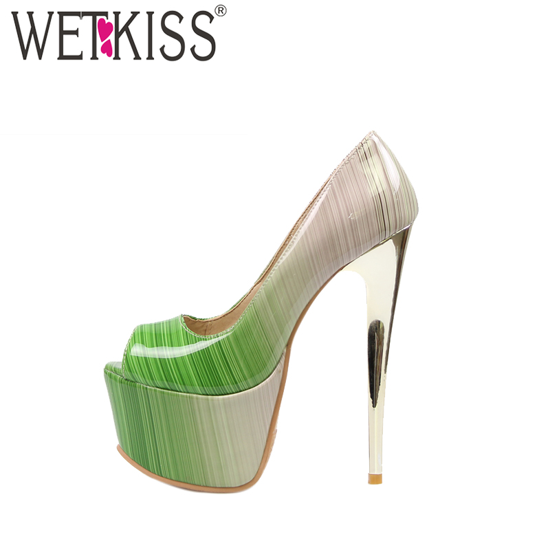 WETKISS Super Big Size 32-48 Extreme High Heels Women Pumps Sexy Peep toe Summer Shoes Woman Colored Party Thick Platform Pumps kcchstar gold plating snake style crystal inlaid ring golden transparent us size 8