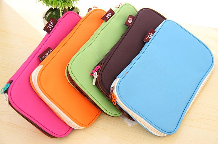 Cute candy color Pencil Case Big capacity double zipper pencil bag Storage Organizer Bag for kids gift School Supply Escolar big capacity high quality canvas shark double layers pen pencil holder makeup case bag for school student with combination coded lock