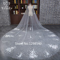 In Stock Royal White/Ivory One Layer Long Lace Bridal Veils Cathedral Wedding Veils Flowers Veu De Noiva Longo For Bride WB29