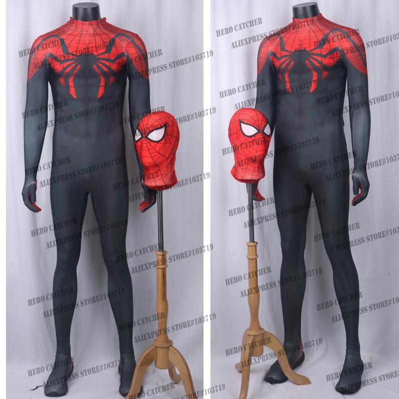 Hero Catcher Best Quality Black Spiderman Costume Comic Superior Spiderman Costume Spandex Lycra Fullbody Suit superior 2 1x5m black эф2150ч
