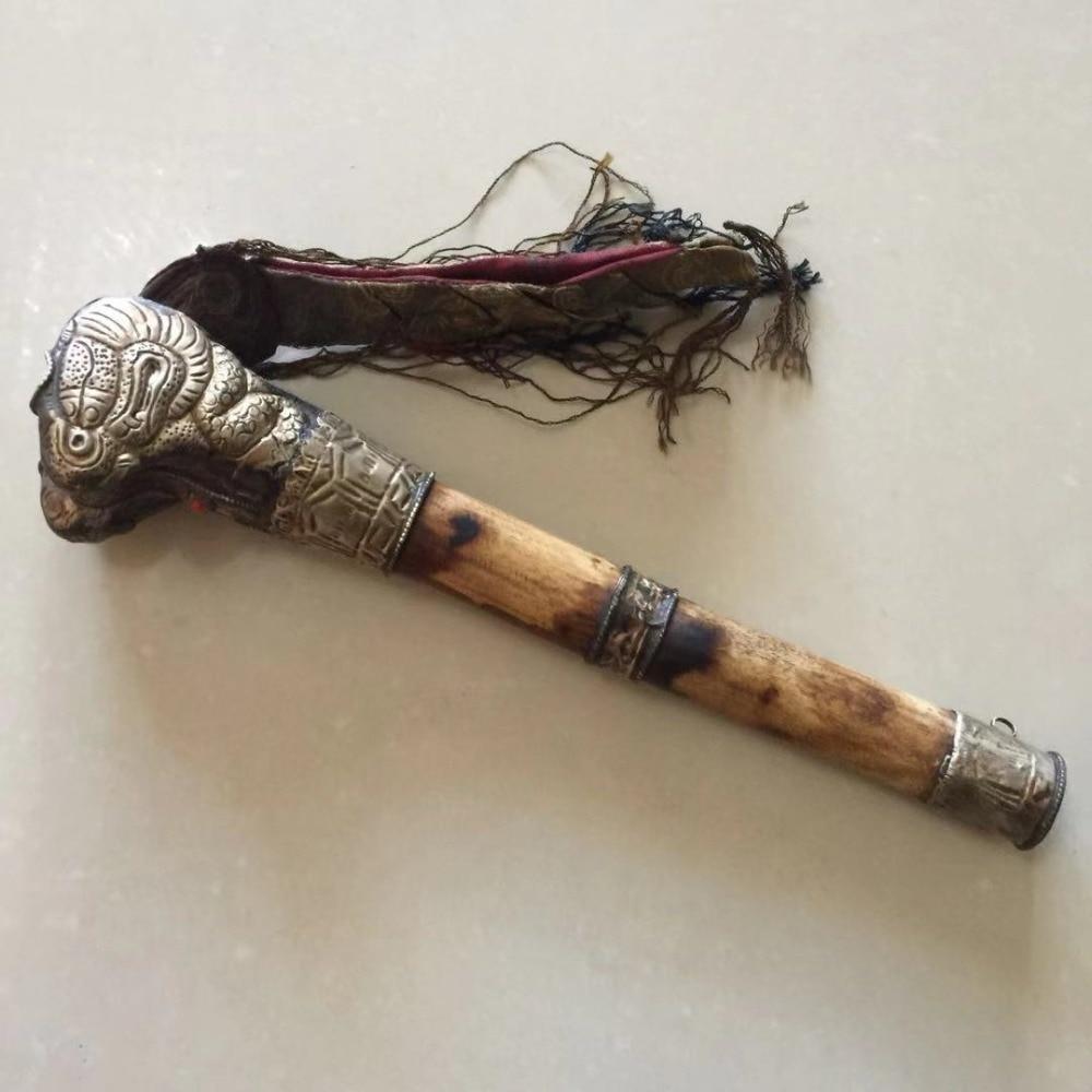 Rare tibet vecchio Rame Bronzo rituale tromba Buddismo del Tibet corno di Trasporto libero