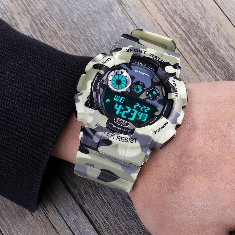 2017 SANDA Brand Wrist watches Army Camouflage Military Watch Led Digital Sports Watches Relogio Masculino Esportivo Clock 289B splendid brand new boys girls students time clock electronic digital lcd wrist sport watch