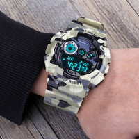 2016 SANDA Brand Wirst Watches Army Camouflage Military Watch Led Digital Sports Watches Relogio Masculino Esportivo