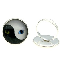 2019 Fashion 2 Colors 20mm Yin And Yang Cat Tai Chi Glass Cabochon Handmade Rings Adjustable Finger Ring For Women
