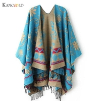 2016 New Autumn Winter Women Outwear Oversized Knitted Cashmere Poncho Capes Duplex Shawl Cardigans Sweater Coat