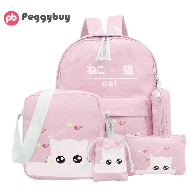 5Pcs/Set Canvas Backpacks For Students Cat Pattern Racksacks Teenage Girls Kawaii Pen Clutch Case Drawstring Shoulder Bags