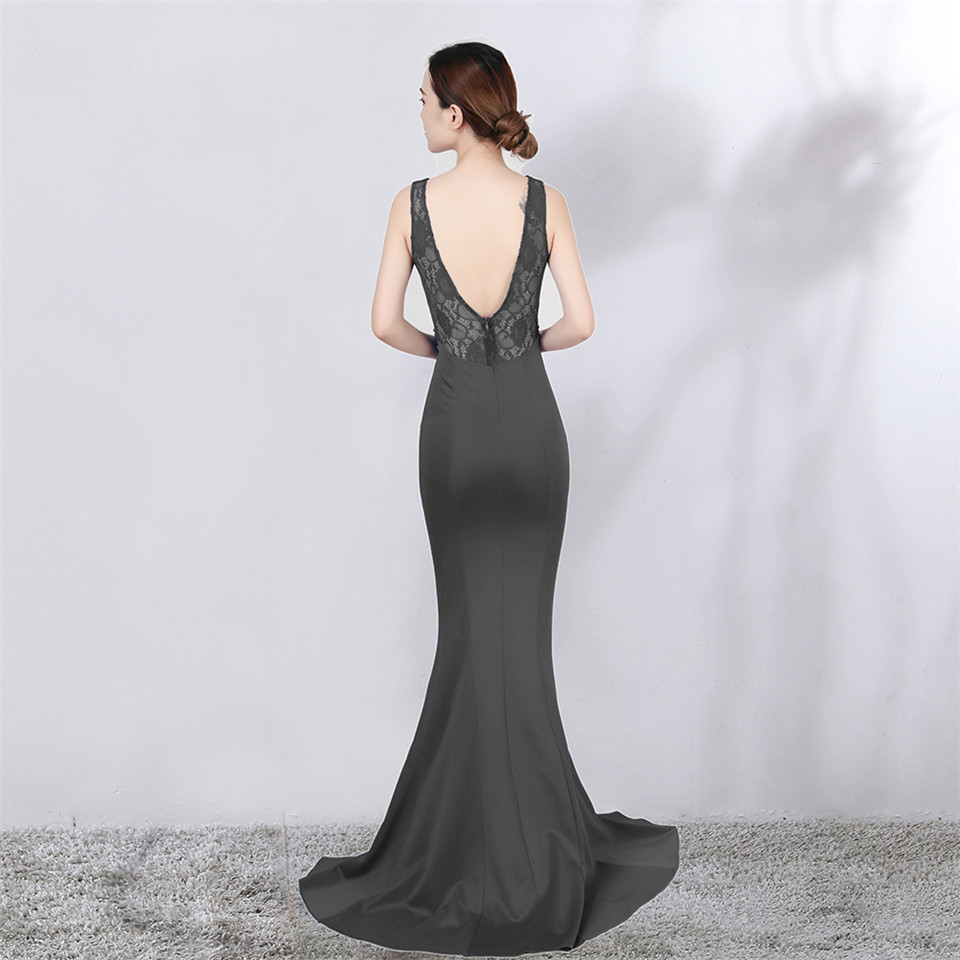 It's Yiiya evening gowns Crystal Sleeveless V-neck Zipper back Party dresses Backless Floor-length Lace Mermaid Prom dress C134