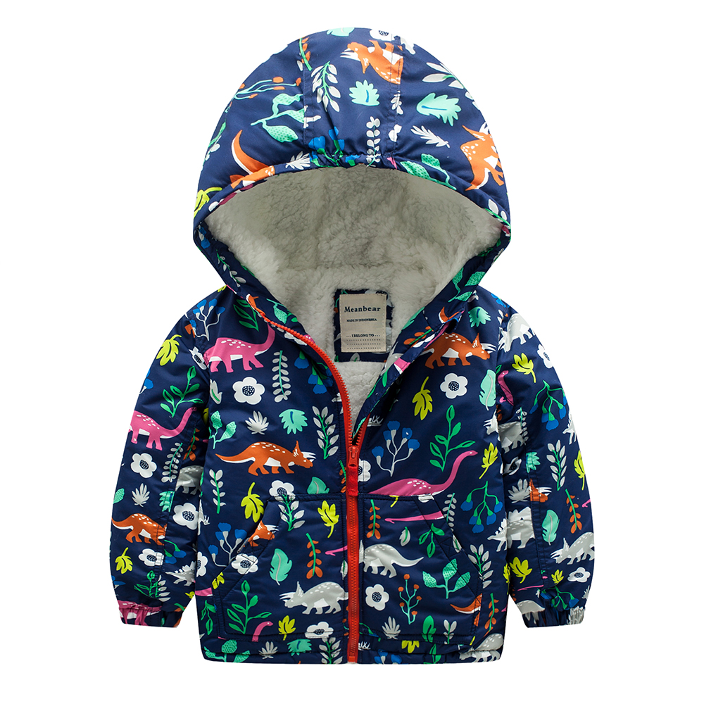 Meanbear M46 Fashion dinosaurs Winter Cotton Child Thicken Padded Lining Jacket Hoodies Keep Warm Boy Girl Coat Tops Outwear m43 spring autumn winter child thicken padded lining jacket hoodies boy
