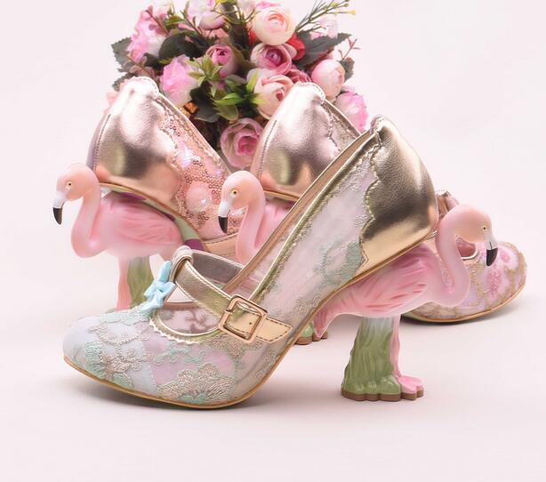 Luxury Embroider Flamingo Bird Heel Women Shoes Buckle Strap Lady Pump  Sapatos Feminino Pink Lace Bling Bling Shoes-in Women s Pumps from Shoes on  ... e340178ba8c4
