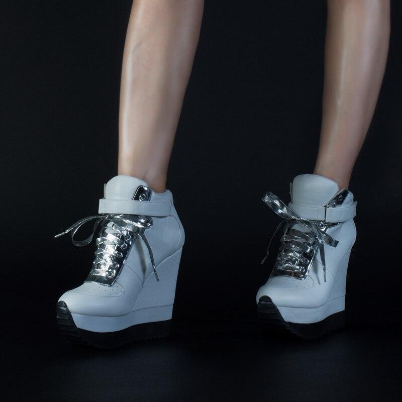 الوردي النخيل عارضة مضخات النساء أحذية عالية الكعب حذاء بكعب ويدج الدانتيل صعودا الكاحل حزام زيادة ارتفاع أحذية رياضية أحذية-في أحذية نسائية من أحذية على  مجموعة 3