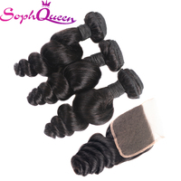 Soph Queen Hair Malaysian Hair Weave Bundles With Closure Loose Wave Virgin Hair Bundles With Closure Hair Extensions