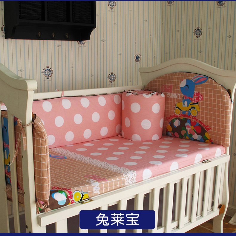 Promotion! 5PCS Crib Baby Bedding Set for Girl Boy Newborn Baby Bed Linens 100% Cotton,include:(bumpers+sheet)