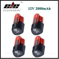 High Quality 4 pcs 48-11-2401 Eleoption Power Tool Battery For Milwaukee M12 12V 2000mAh Li-ion Rechargeable Spare Battery